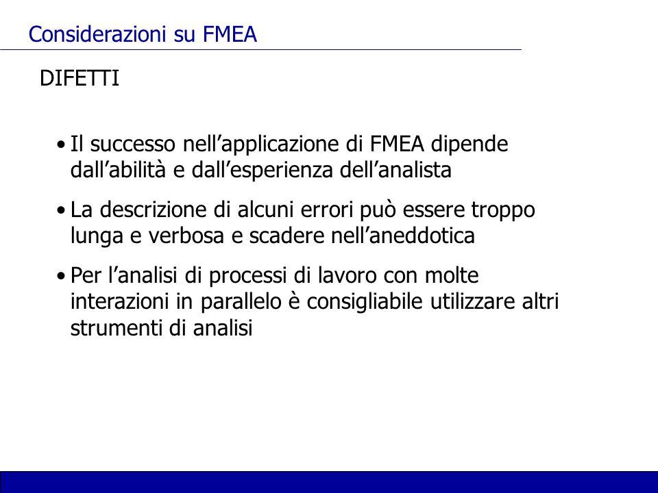 Considerazioni su FMEA