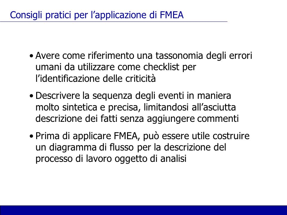 Consigli pratici per l'applicazione di FMEA