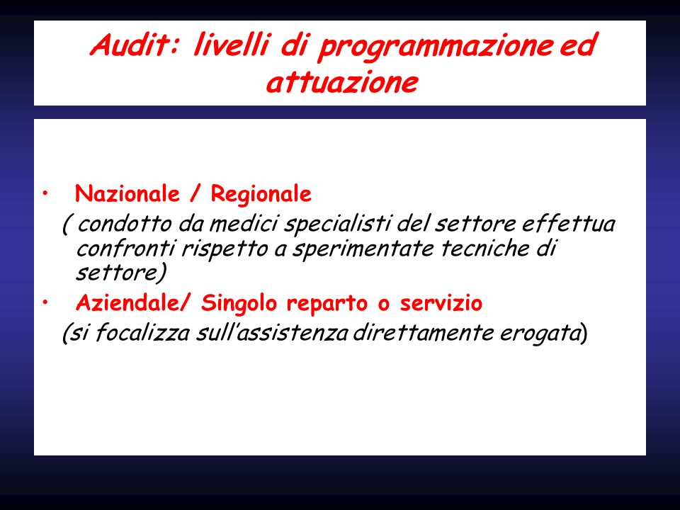 Audit: livelli di programmazione ed attuazione