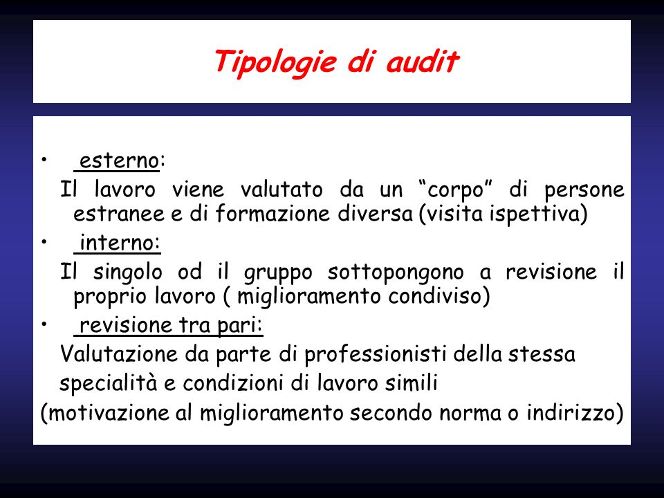 Tipologie di audit esterno: