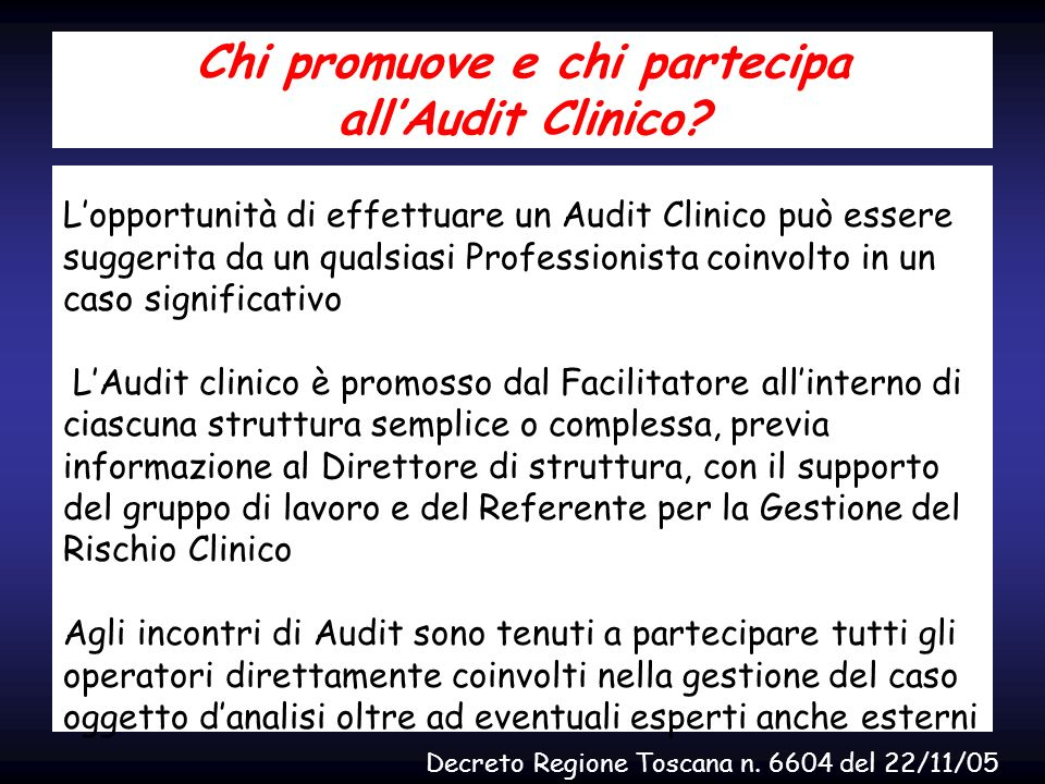 Chi promuove e chi partecipa all'Audit Clinico
