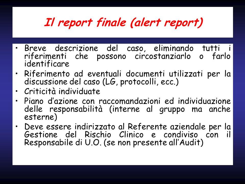 Il report finale (alert report)