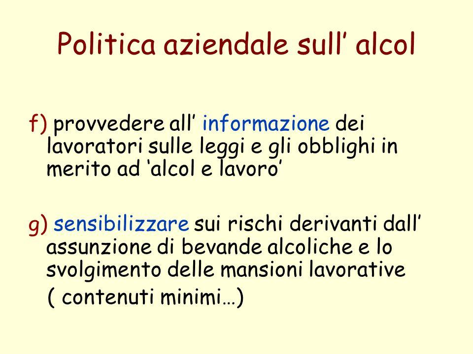 Politica aziendale sull' alcol