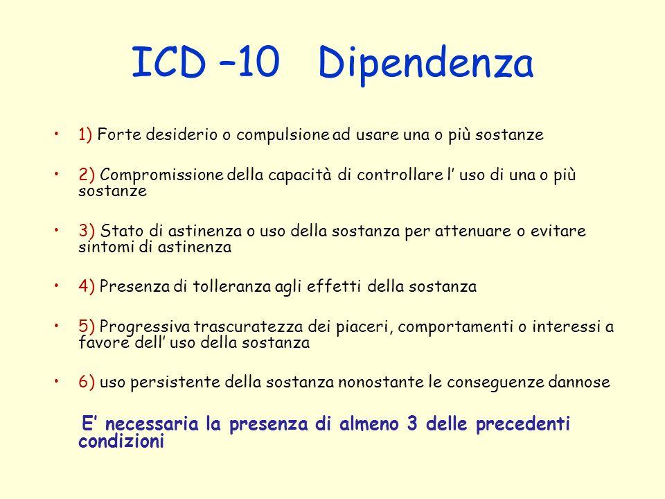 ICD –10 Dipendenza 1) Forte desiderio o compulsione ad usare una o più sostanze.