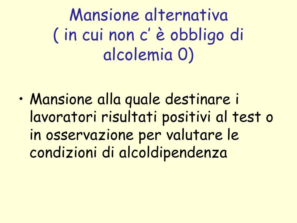 Mansione alternativa ( in cui non c' è obbligo di alcolemia 0)