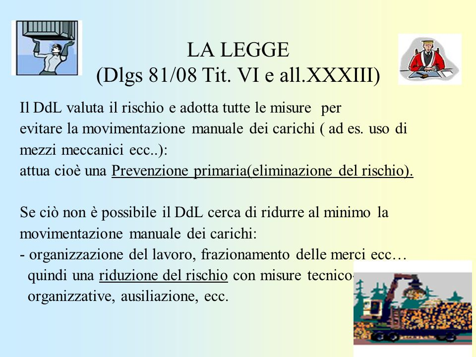 LA LEGGE (Dlgs 81/08 Tit. VI e all.XXXIII)