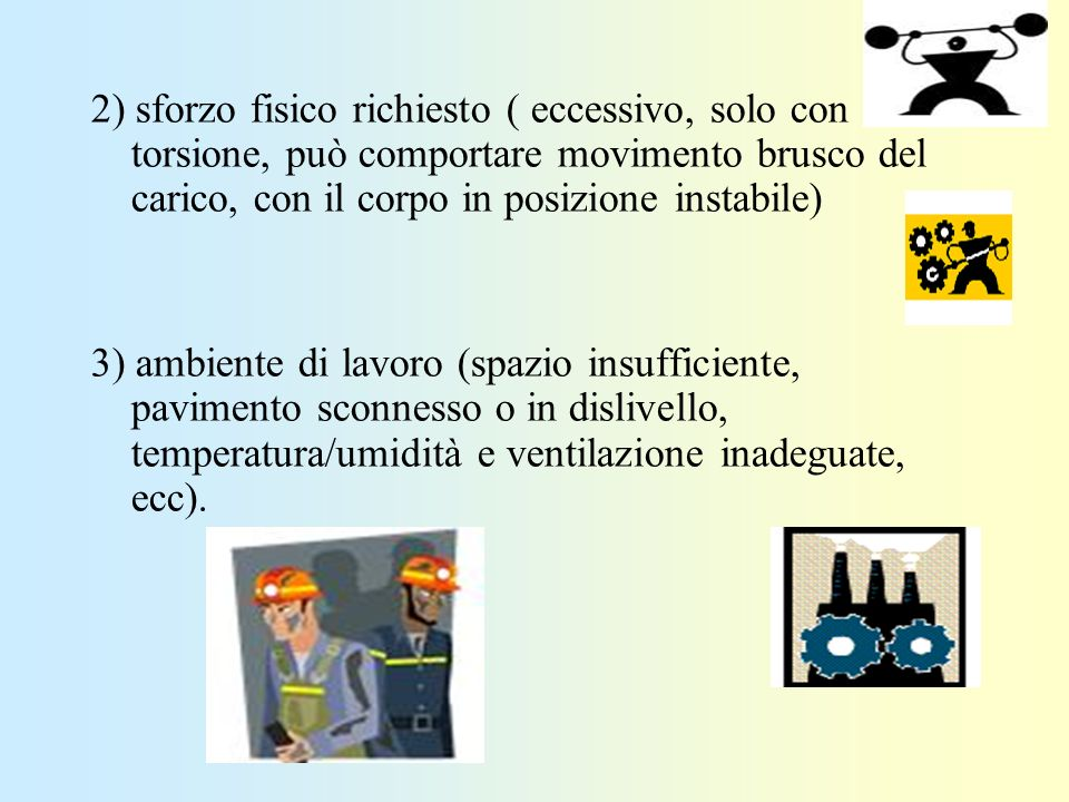 2) sforzo fisico richiesto ( eccessivo, solo con torsione, può comportare movimento brusco del carico, con il corpo in posizione instabile)