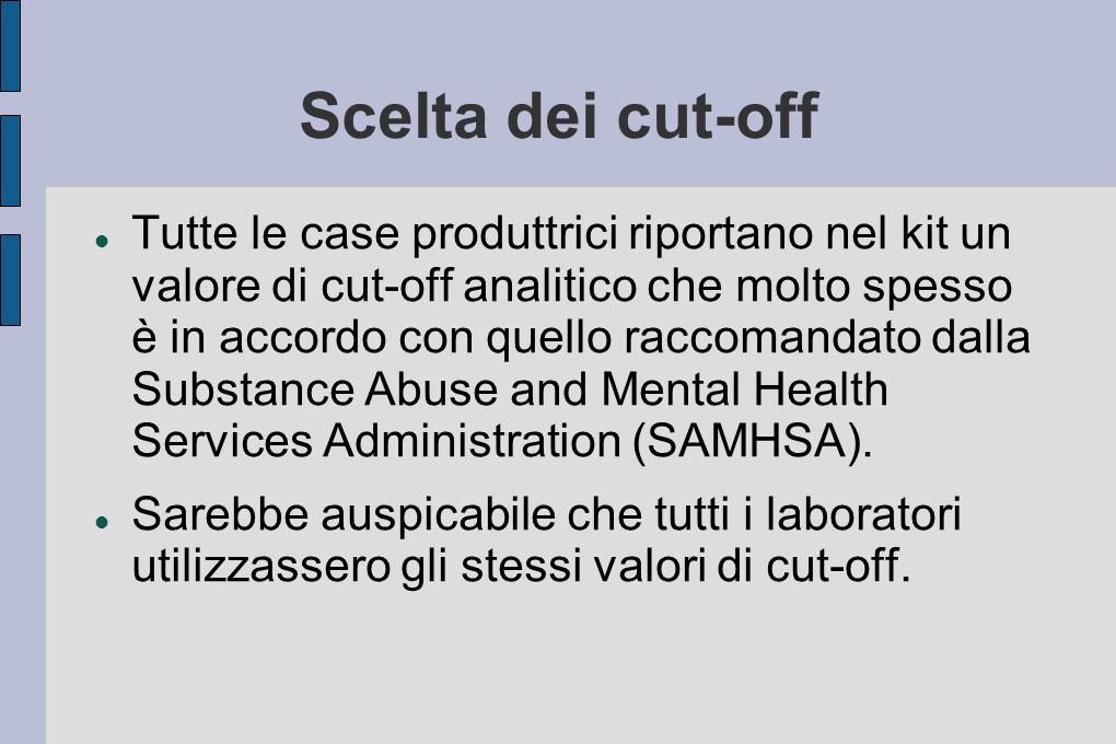 Scelta dei cut-off