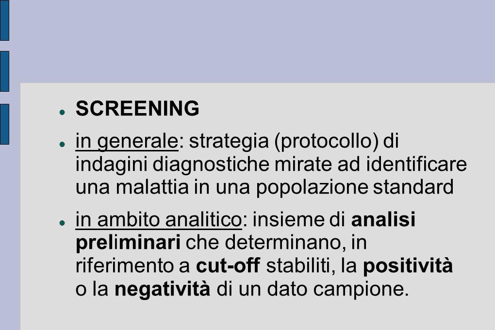 SCREENING in generale: strategia (protocollo) di indagini diagnostiche mirate ad identificare una malattia in una popolazione standard.