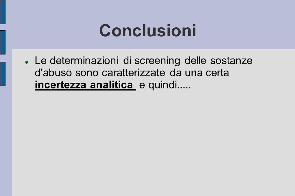 Conclusioni Le determinazioni di screening delle sostanze d abuso sono caratterizzate da una certa incertezza analitica e quindi.....