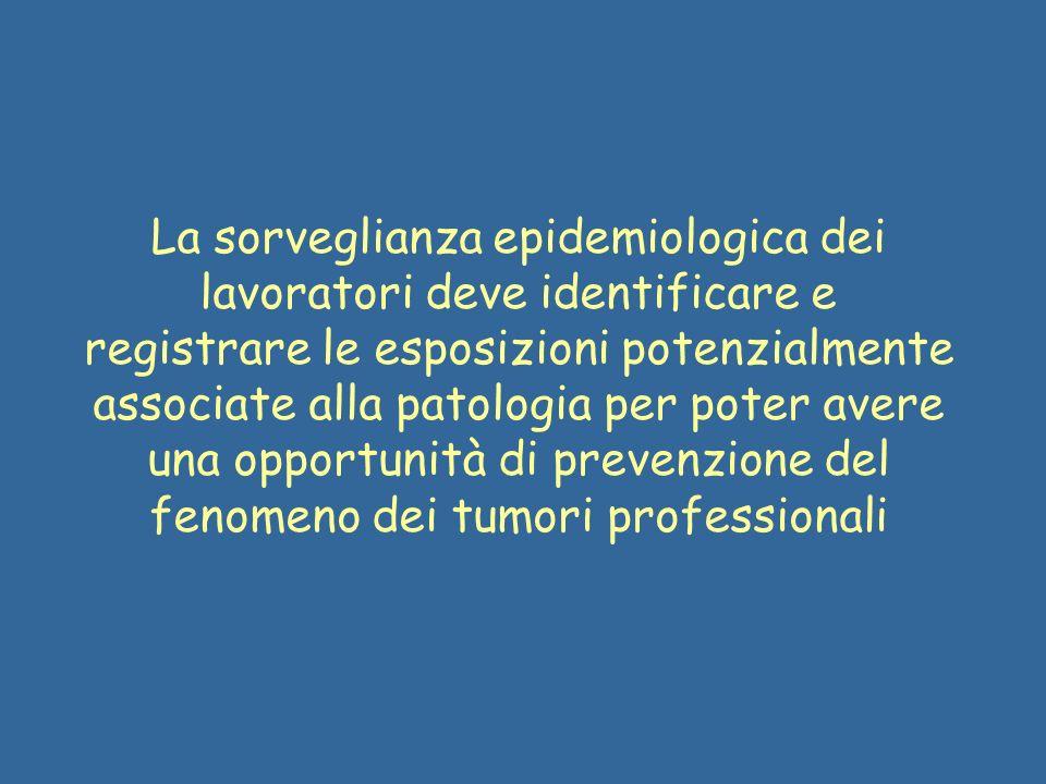 La sorveglianza epidemiologica dei lavoratori deve identificare e registrare le esposizioni potenzialmente associate alla patologia per poter avere una opportunità di prevenzione del fenomeno dei tumori professionali