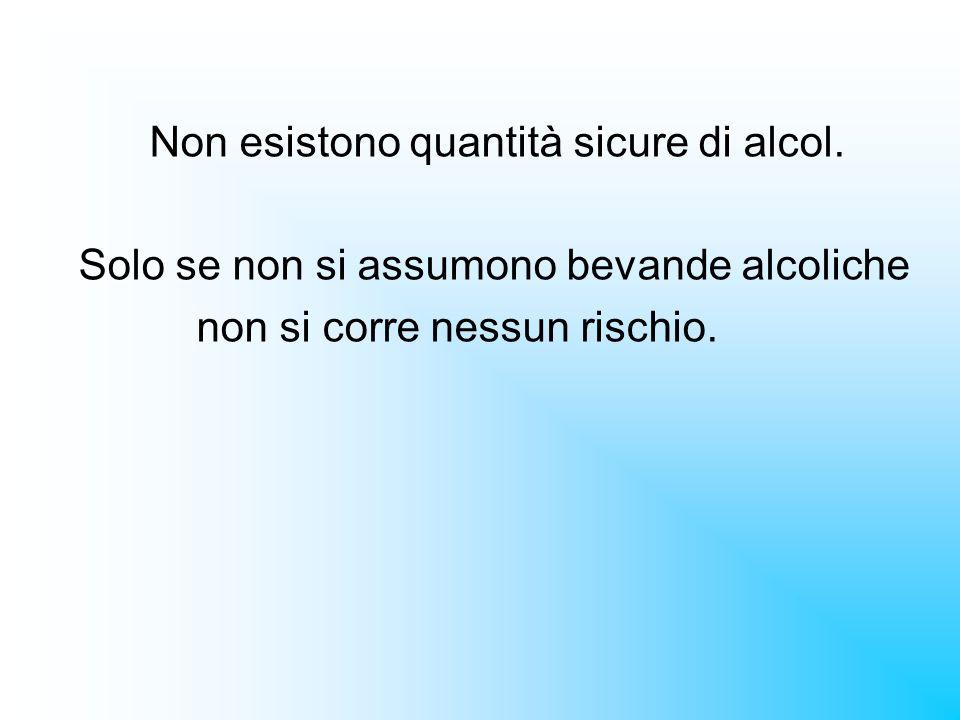 Non esistono quantità sicure di alcol.