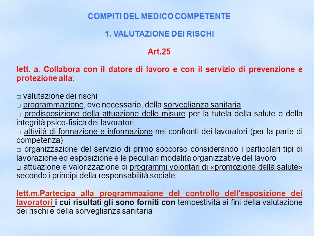 COMPITI DEL MEDICO COMPETENTE 1. VALUTAZIONE DEI RISCHI
