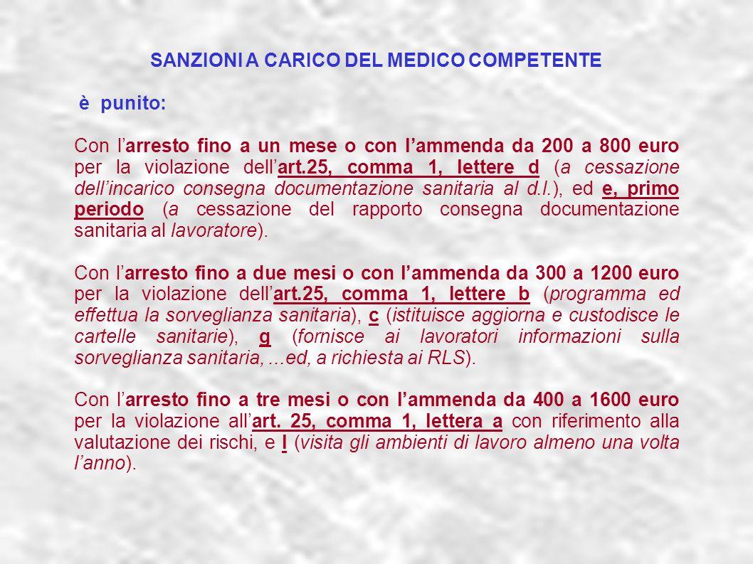 SANZIONI A CARICO DEL MEDICO COMPETENTE