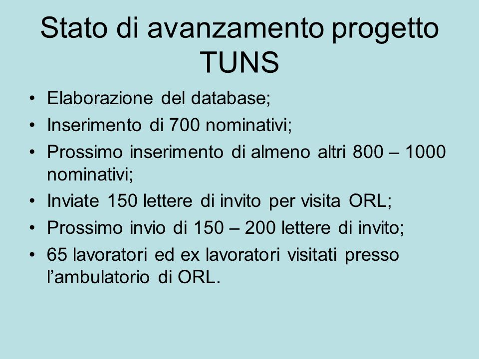 Stato di avanzamento progetto TUNS