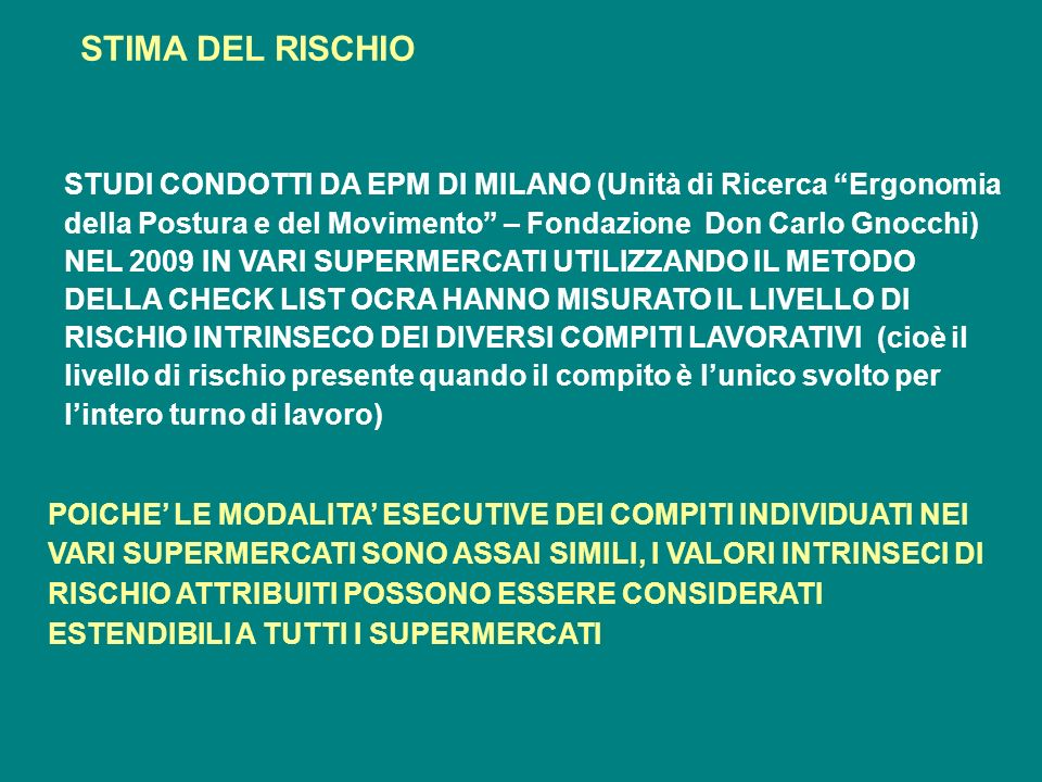STIMA DEL RISCHIO