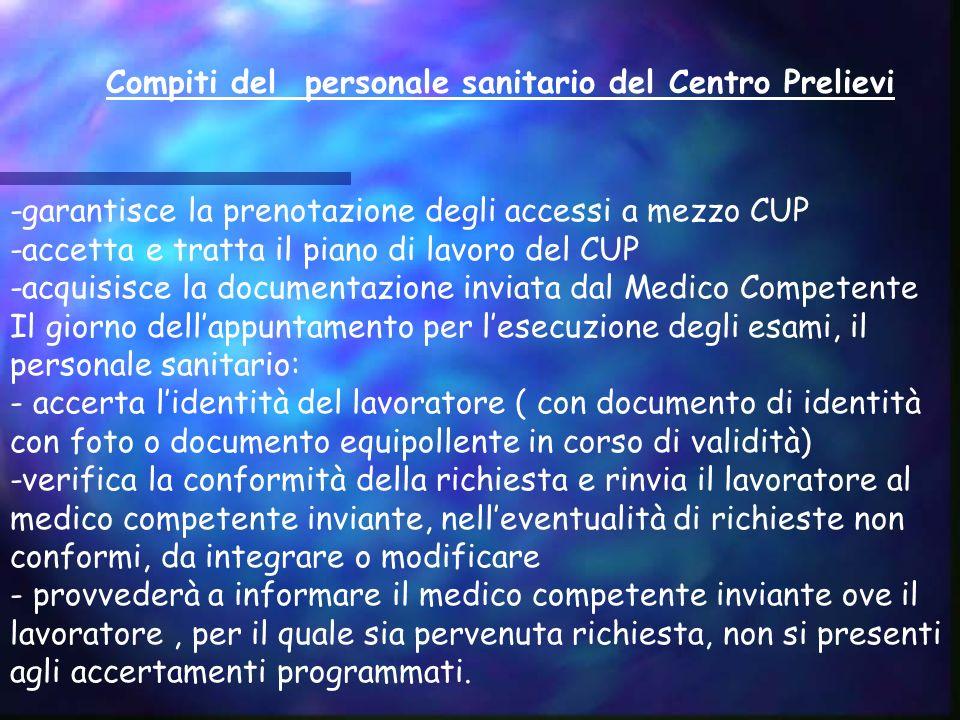 Compiti del personale sanitario del Centro Prelievi