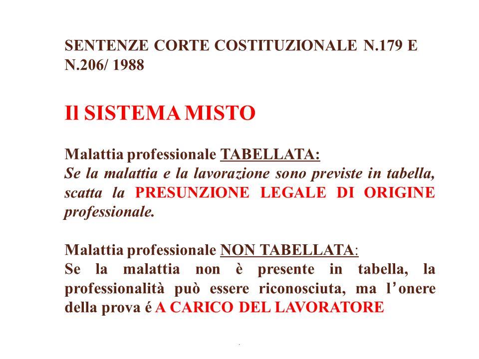 Il SISTEMA MISTO SENTENZE CORTE COSTITUZIONALE N.179 E N.206/ 1988