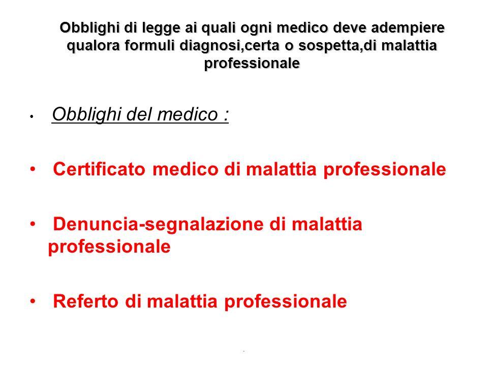 Certificato medico di malattia professionale