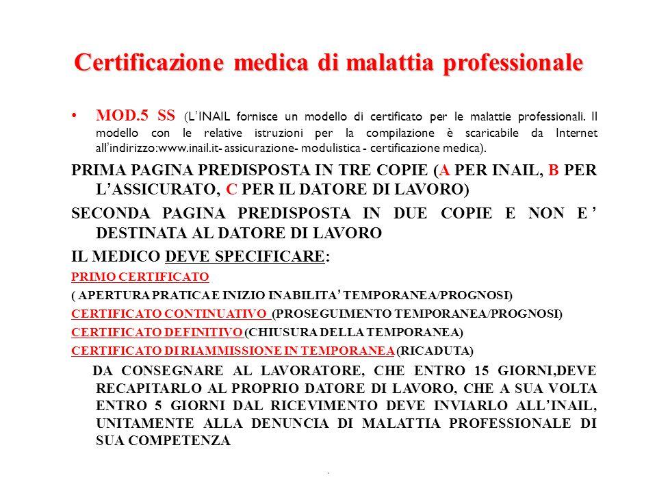 Certificazione medica di malattia professionale