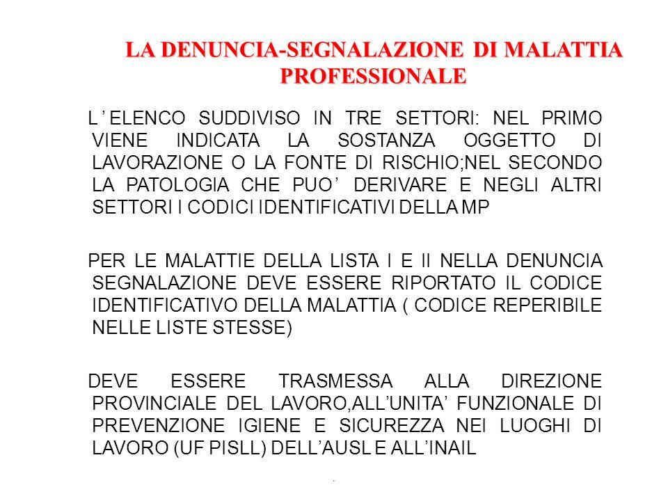LA DENUNCIA-SEGNALAZIONE DI MALATTIA PROFESSIONALE