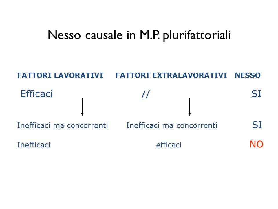 Nesso causale in M.P. plurifattoriali