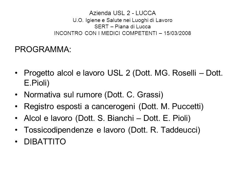 Progetto alcol e lavoro USL 2 (Dott. MG. Roselli – Dott. E.Pioli)