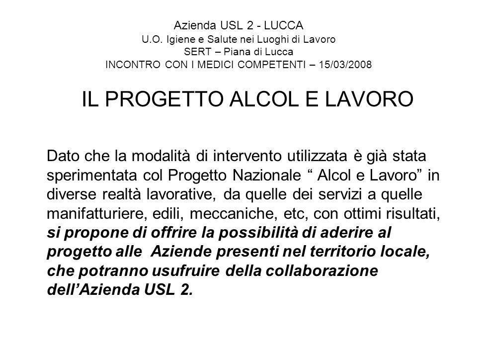 IL PROGETTO ALCOL E LAVORO