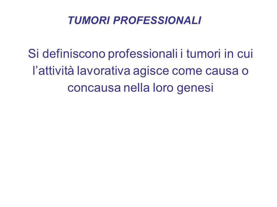 TUMORI PROFESSIONALI Si definiscono professionali i tumori in cui l'attività lavorativa agisce come causa o concausa nella loro genesi.
