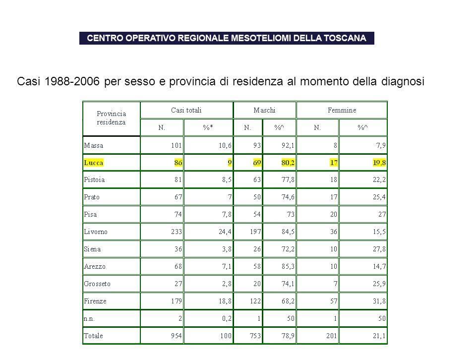 Casi 1988-2006 per sesso e provincia di residenza al momento della diagnosi