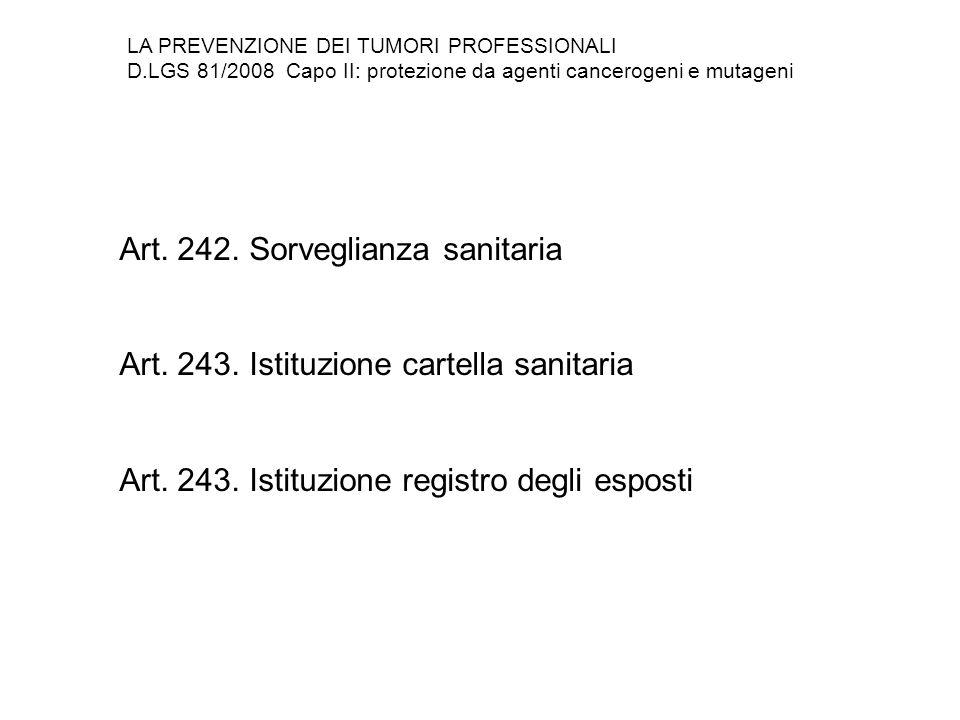 Art. 242. Sorveglianza sanitaria