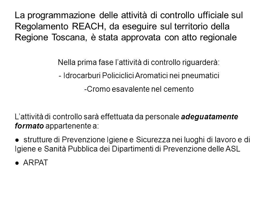 La programmazione delle attività di controllo ufficiale sul Regolamento REACH, da eseguire sul territorio della Regione Toscana, è stata approvata con atto regionale