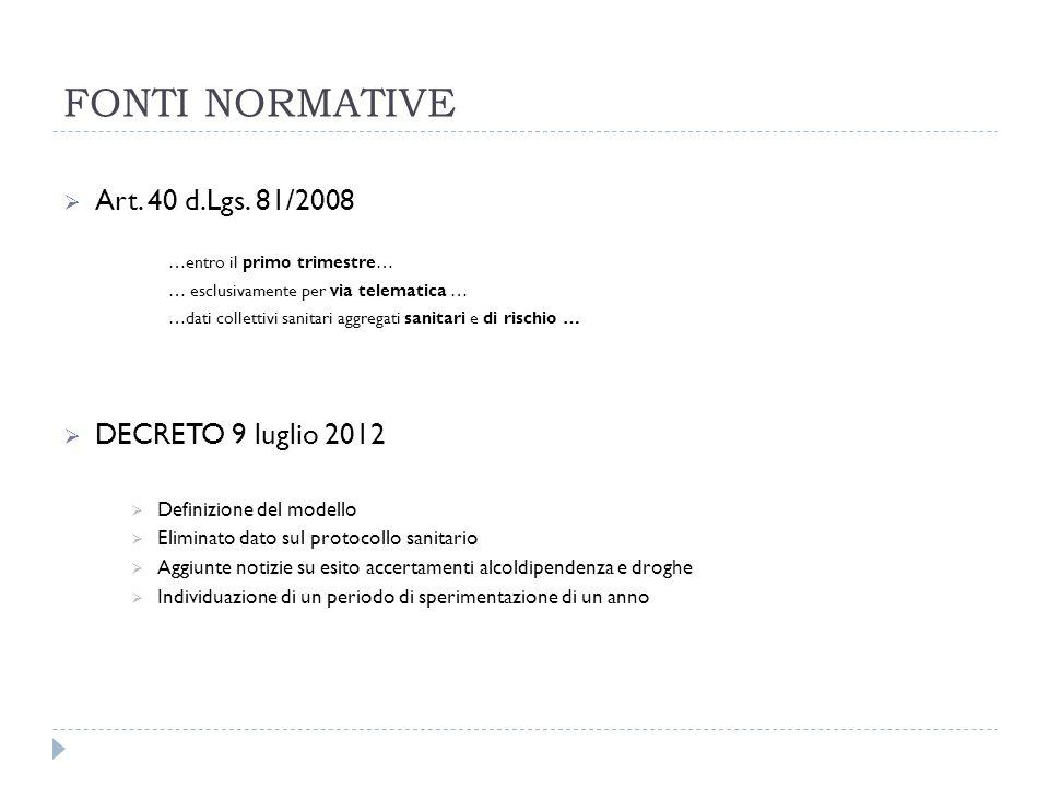 FONTI NORMATIVE Art. 40 d.Lgs. 81/2008 DECRETO 9 luglio 2012