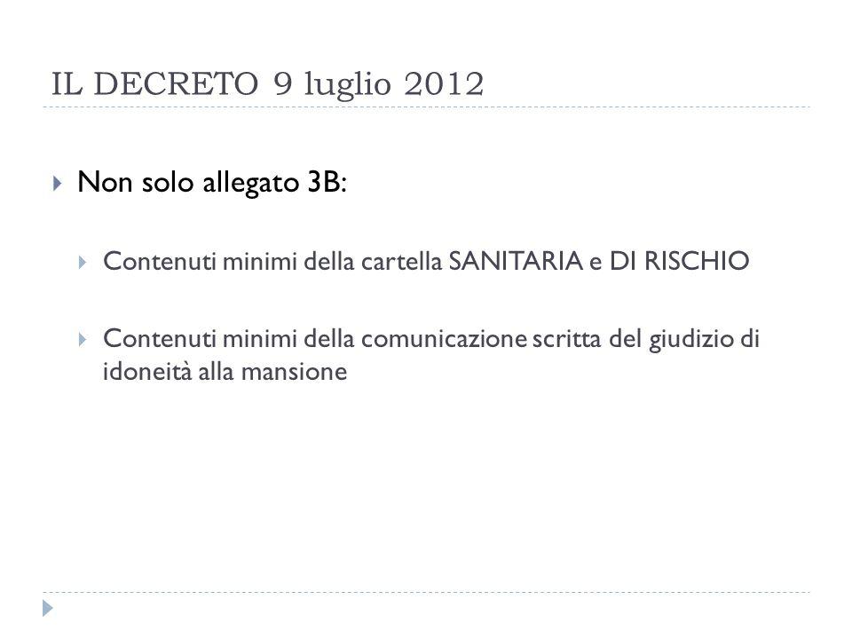 IL DECRETO 9 luglio 2012 Non solo allegato 3B: