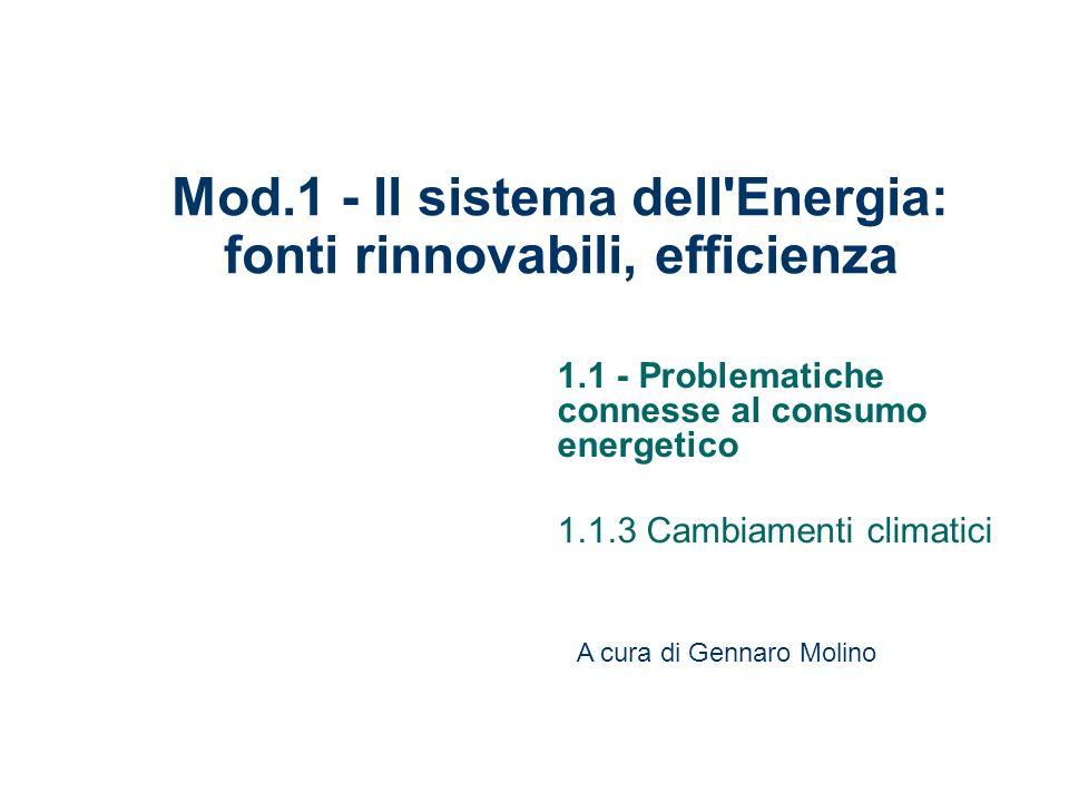 Mod.1 - Il sistema dell Energia: fonti rinnovabili, efficienza
