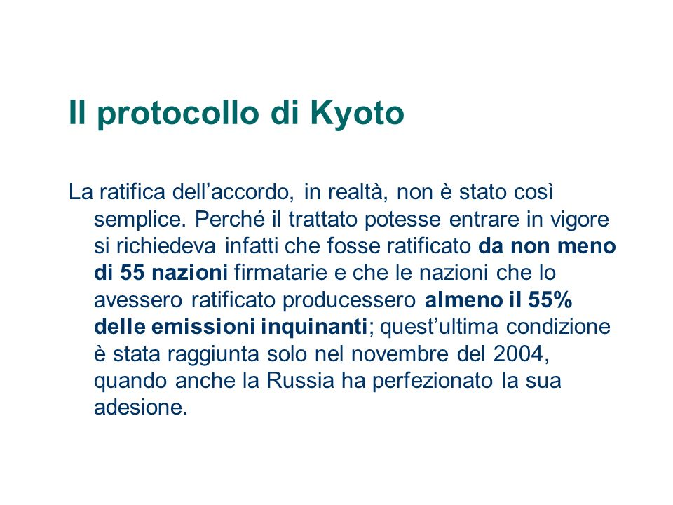 Il protocollo di Kyoto