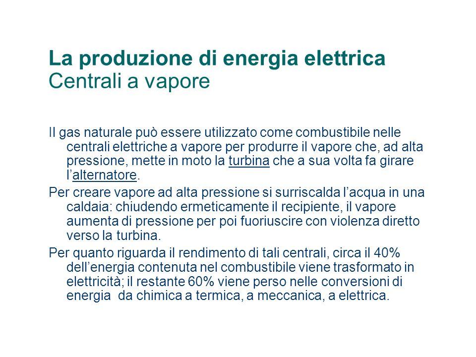 La produzione di energia elettrica Centrali a vapore
