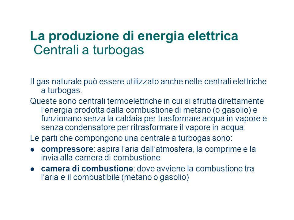 La produzione di energia elettrica Centrali a turbogas