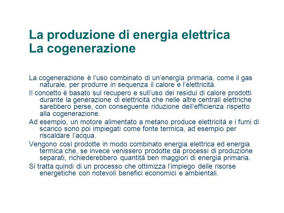 La produzione di energia elettrica La cogenerazione
