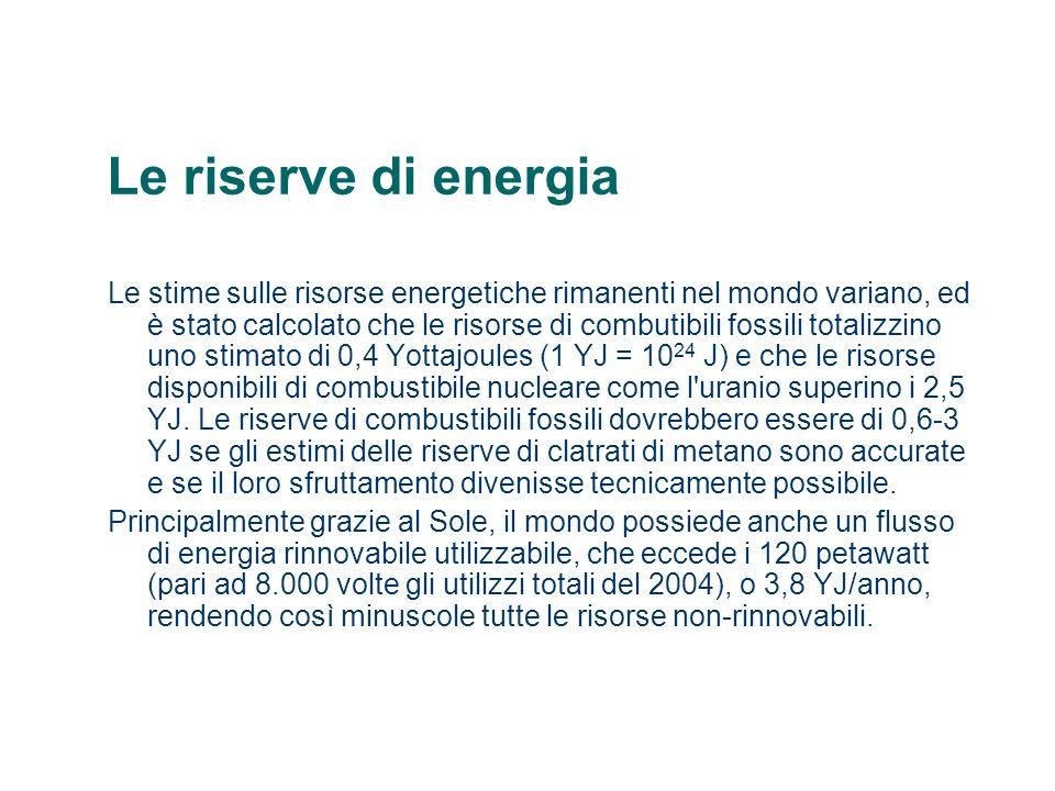 Le riserve di energia