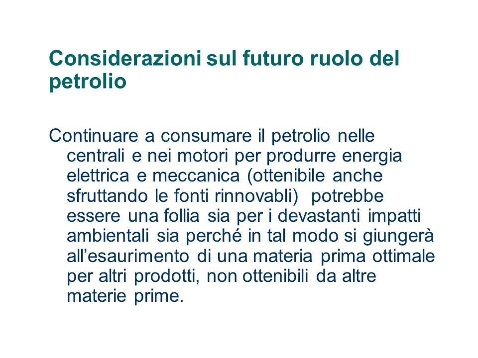 Considerazioni sul futuro ruolo del petrolio