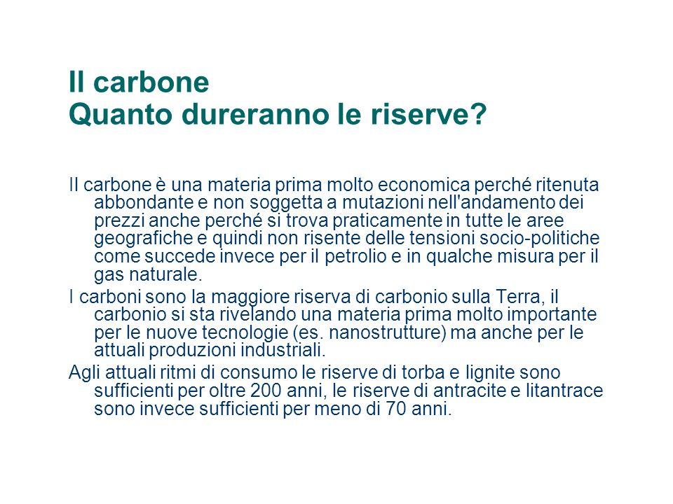 Il carbone Quanto dureranno le riserve