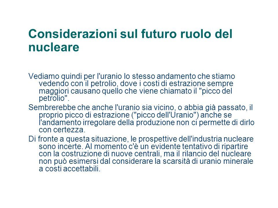 Considerazioni sul futuro ruolo del nucleare