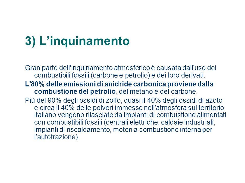 3) L'inquinamento Gran parte dell inquinamento atmosferico è causata dall uso dei combustibili fossili (carbone e petrolio) e dei loro derivati.