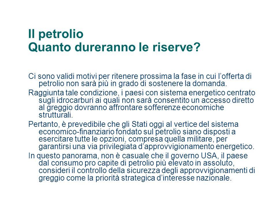 Il petrolio Quanto dureranno le riserve