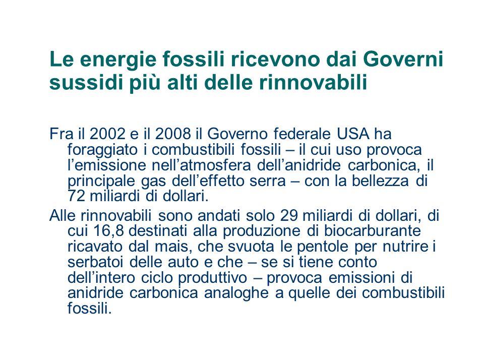 Le energie fossili ricevono dai Governi sussidi più alti delle rinnovabili