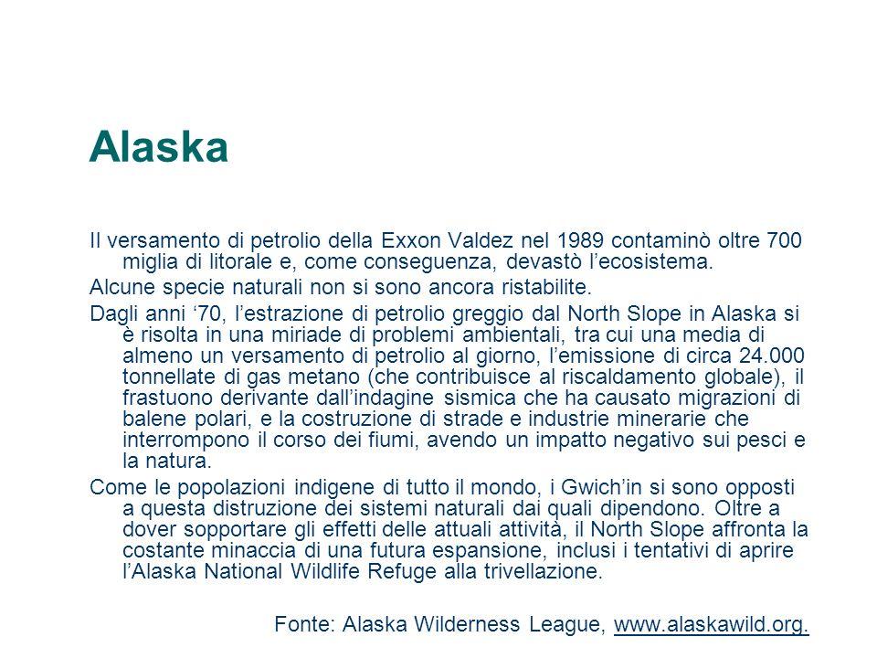 AlaskaIl versamento di petrolio della Exxon Valdez nel 1989 contaminò oltre 700 miglia di litorale e, come conseguenza, devastò l'ecosistema.