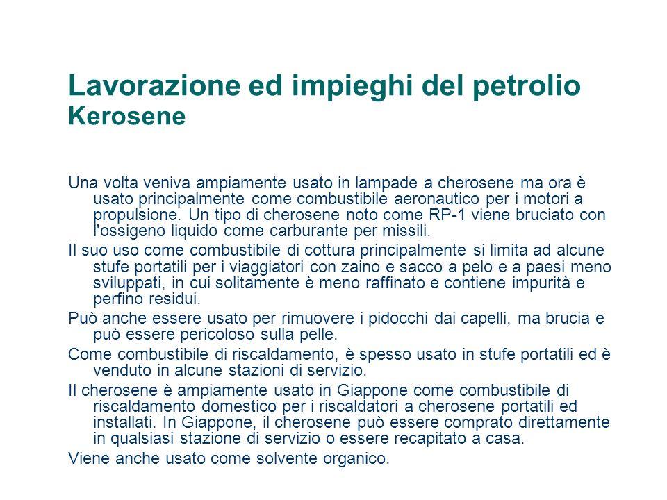 Lavorazione ed impieghi del petrolio Kerosene