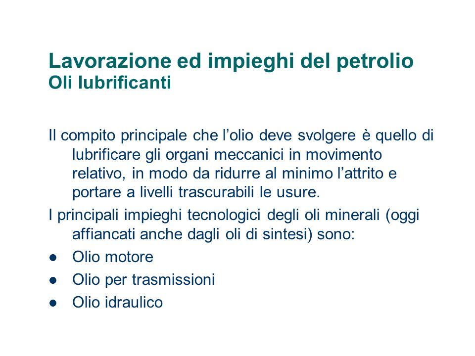 Lavorazione ed impieghi del petrolio Oli lubrificanti