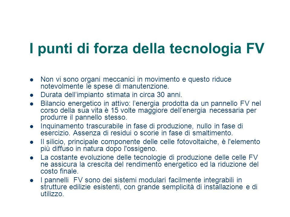 I punti di forza della tecnologia FV